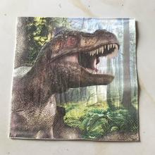 10pcs Dinosaur food-grate Printed napkin paper servilletas decoupage decorated Virgin Wood Tissue 33*33cm