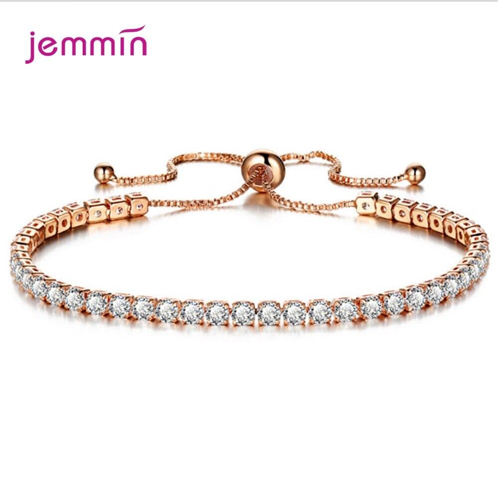 Colorful CZ Bracelet Women Tennis Bracelets Female 1 Row Rhinestones 925 Sterling Silver Chain Bling Crystal Adjustable Bracelet