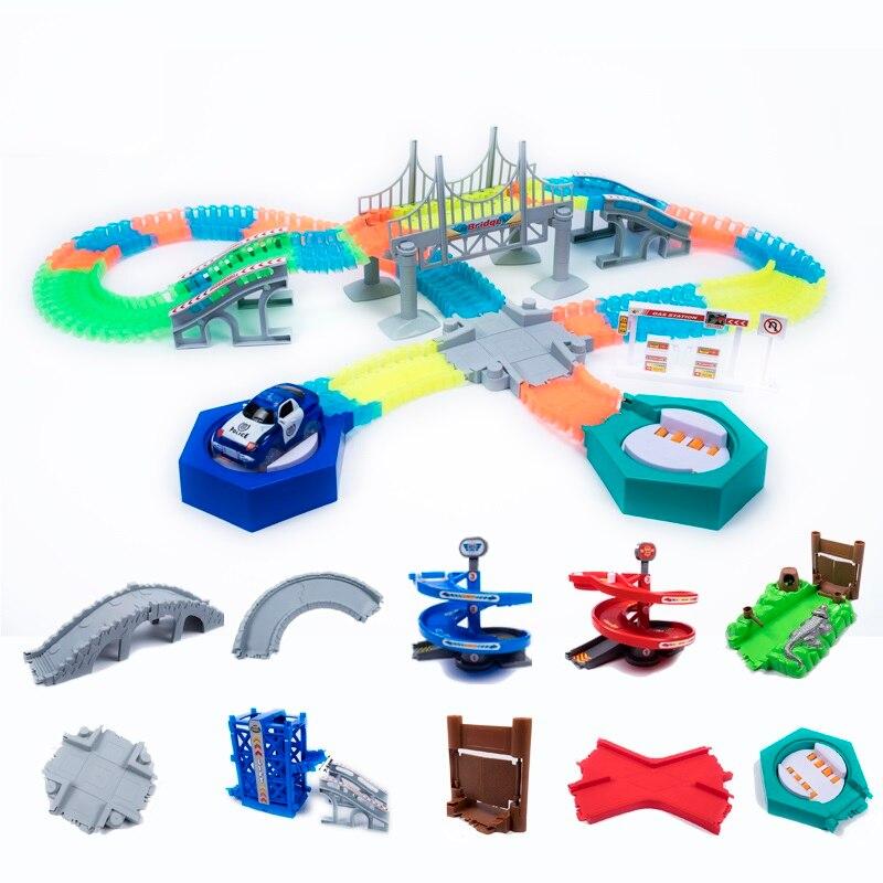 Mágico brilhante pista de corrida diy acessórios universais rampa virar estrada ponte encruzilhada ferroviário carro brinquedo corridas faixas crianças presentes