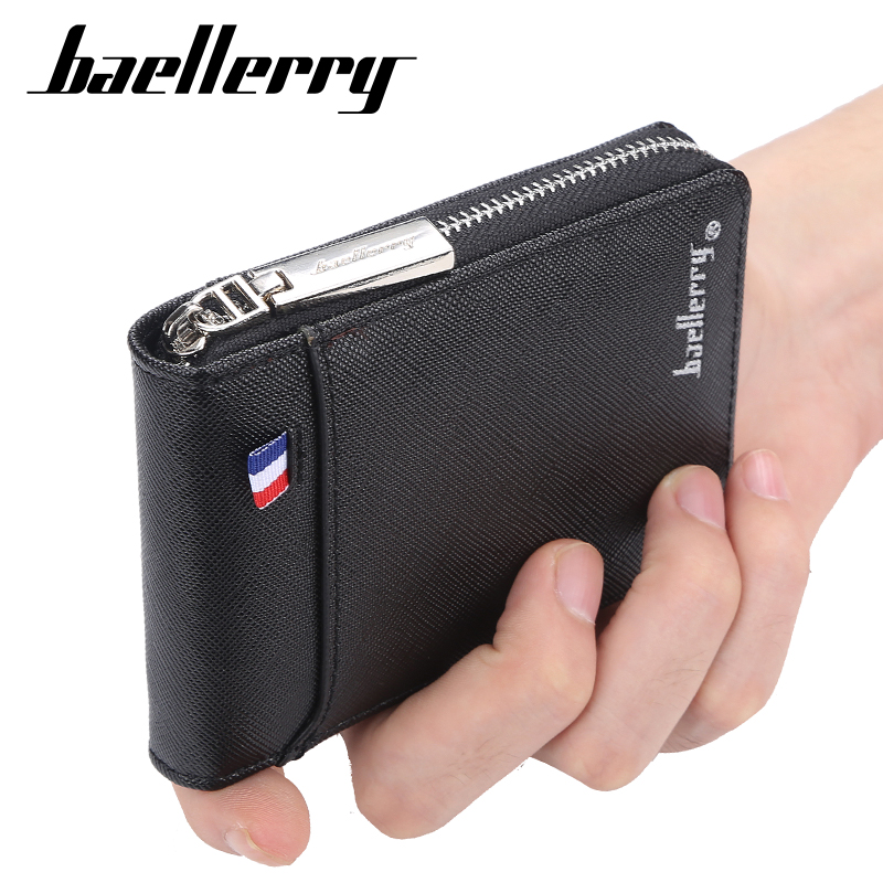 Fashion Zipper Men's Wallet  Small Short Credit Card Holder For Male Vintage Mini Man Purse With Coin Pocket 058 K9105