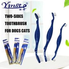 Pet Dog Cat Tootbrush Pet podwójna główka szczoteczka do zębów miękka szczoteczka do zębów dla zwierząt domowych Pet czyszczenia zębów Pet stomatologiczne do ust produkty zdrowotne dostawa