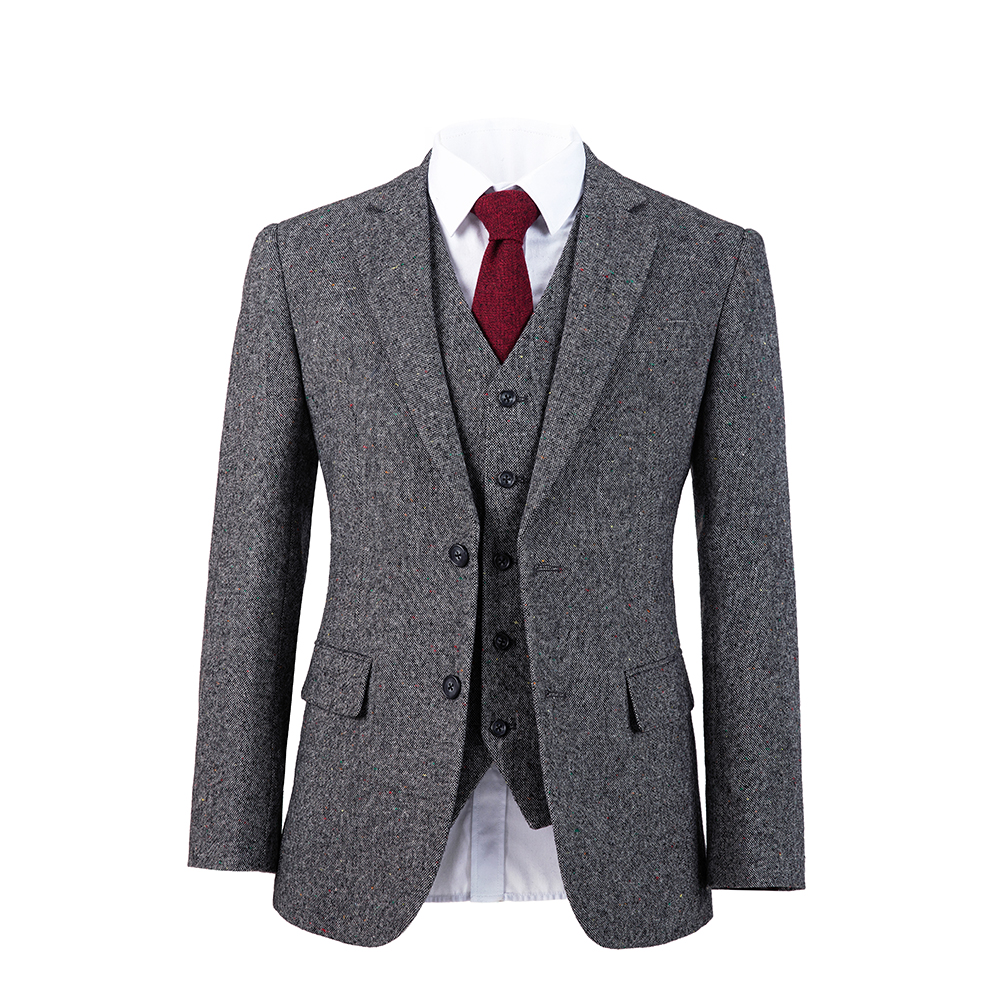 Men's Tailor dark gray  overcheck Suit Sets Wedding Dress Suit Groom Wear Tuxedo Jacket With Pant(Jacket+bowtie+Pant)