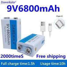 2021 9 v 6800mah li-ion bateria recarregável micro usb baterias de lítio 9 v para multímetro microfone brinquedo controle remoto ktv uso