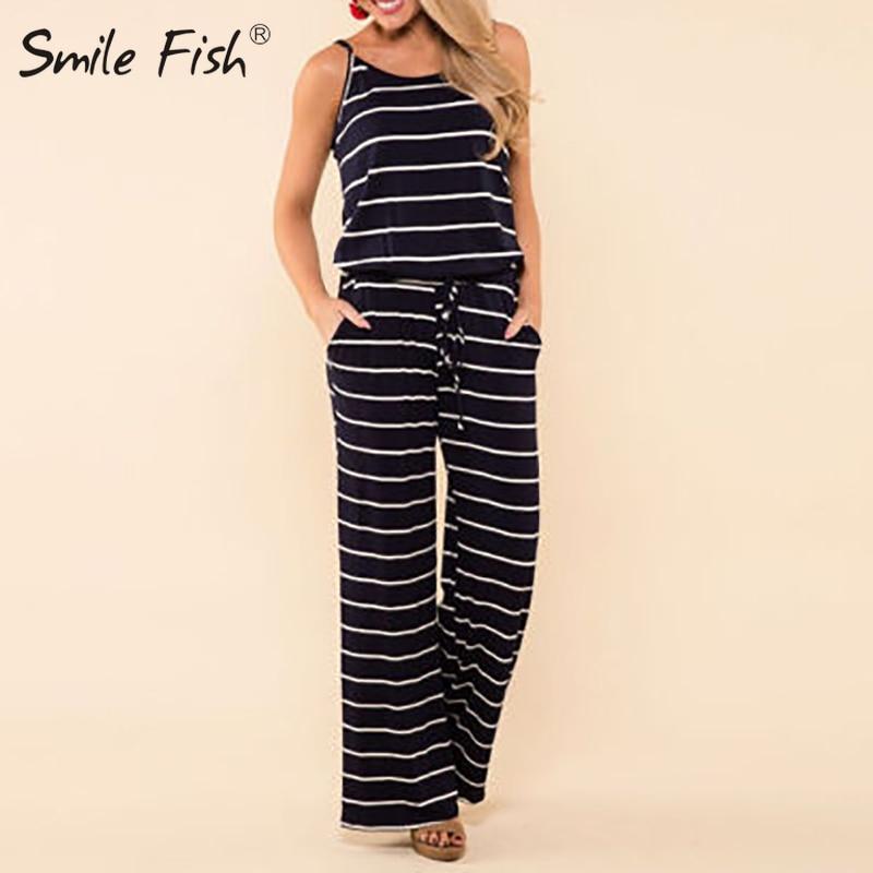Cardigo Women Jumpsuit Stripe Print Jumpsuits Loose Playsuit Long Trousers