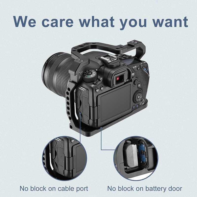 Uurig DSLR Kamera Cage untuk Canon EOS 70D 80D 90D Housing Case Dingin Sepatu 1/4 ''ARRI Lubang untuk Mikrofon lampu LED Ekstensi