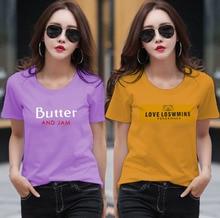 купить 2Pcs/Lot Mixed Colors Korean Woman Clothing 2019 100% Cotton Short Print Students O Neck T Shirt Girl Casual Top clothes M-3XL дешево