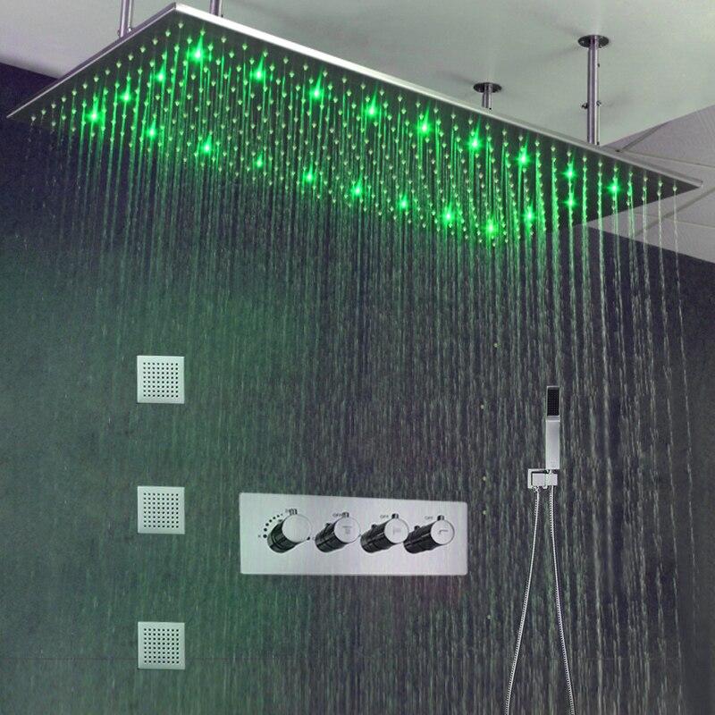 Di lusso Soffitto del Bagno LED Doccia A Pioggia Set 500*1000 millimetri Spazzolato Grande Doccia A Pioggia Testa 3 Modi Termostatico Doccia miscelatore In Ottone