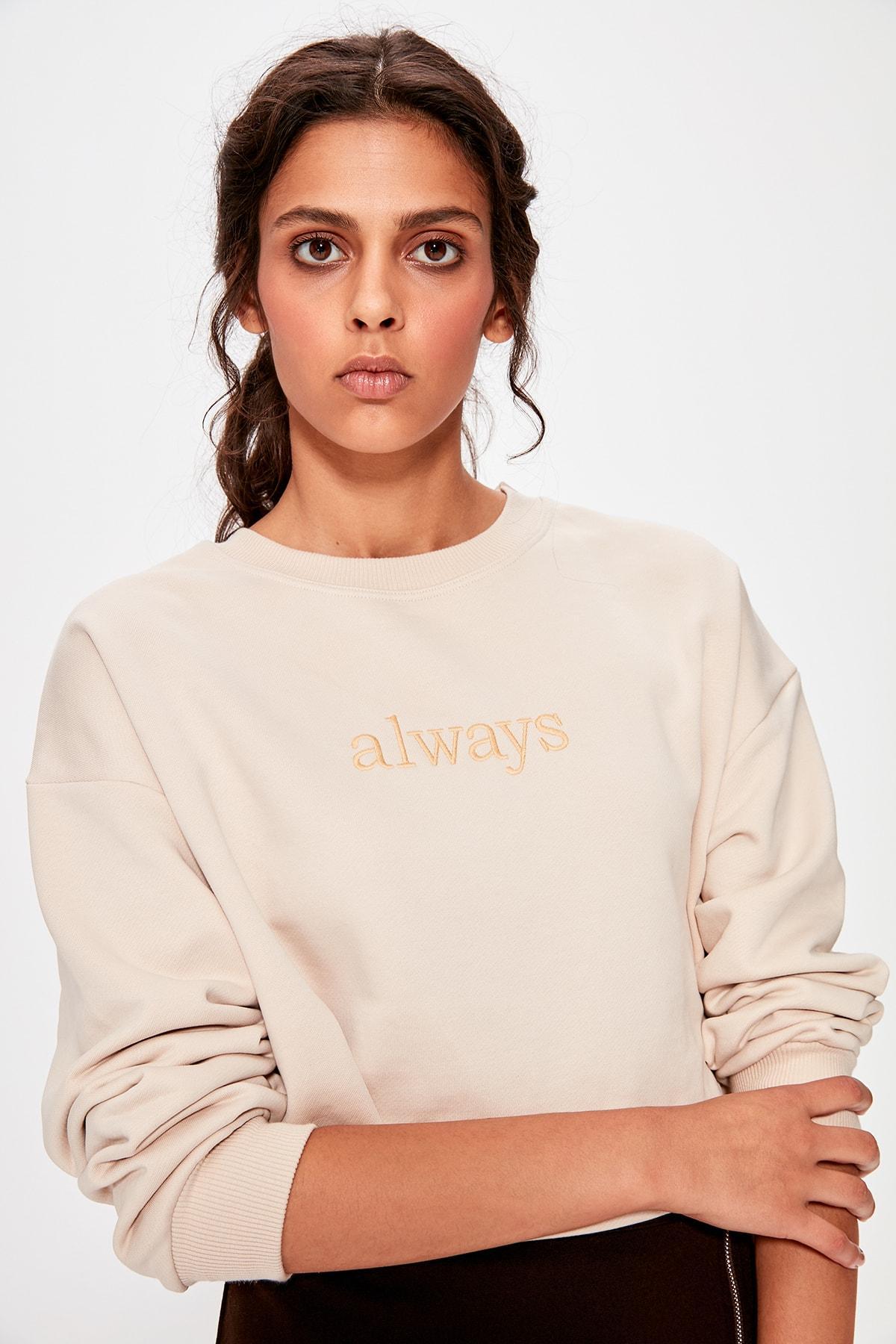 Trendyol Beige Embroidered Crop Knitted Sweatshirt TWOAW20SW0145