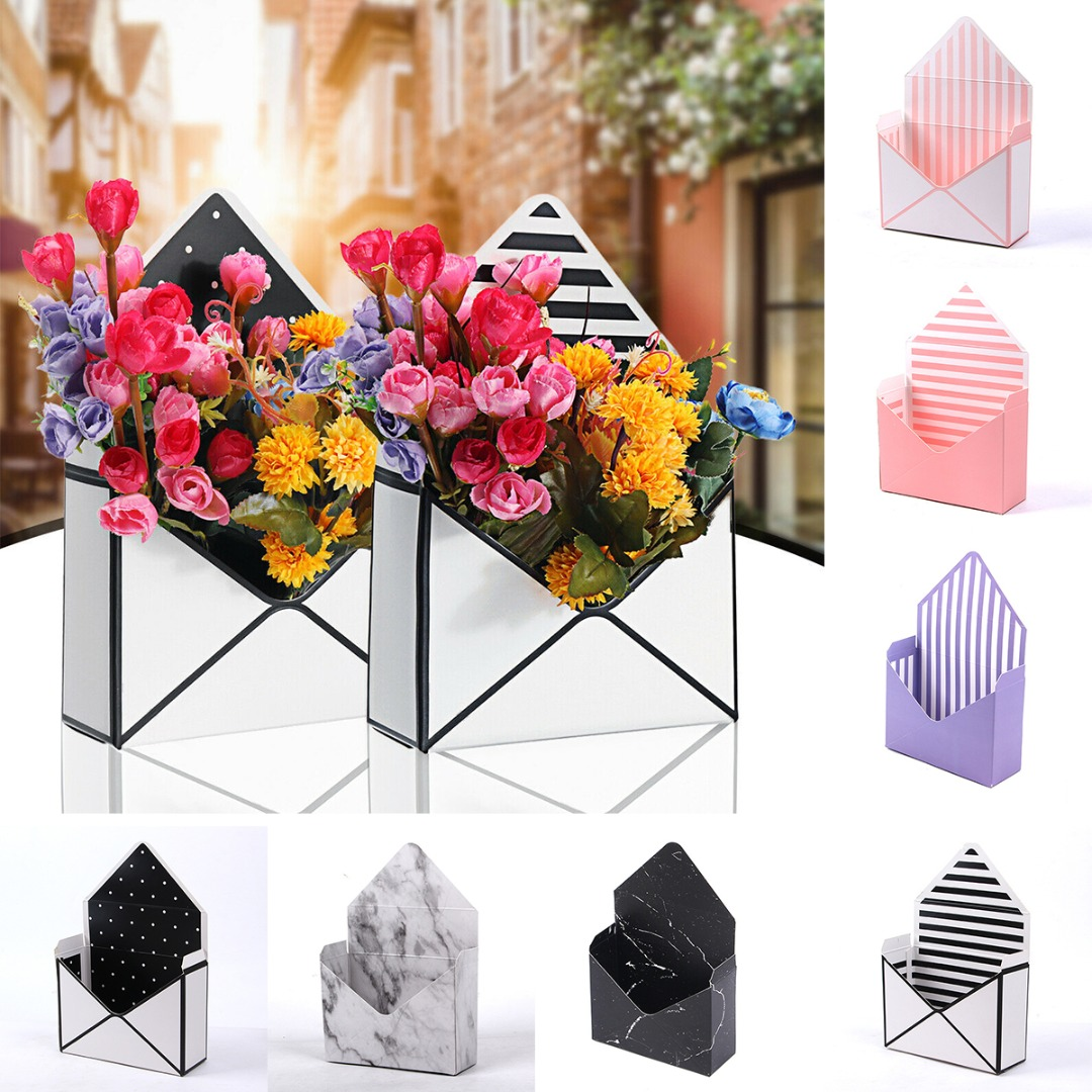 12pcs Folding Envelope Flower Box Paper Floral Wrapping Party Wedding Gift 20x7x29 5cm Seven Different Types