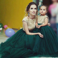 Green Puffy tulle lace Flower Girls Dresses jewel Neck Little Girls Ball Gowns Backess long Kids Birthday Party Dress