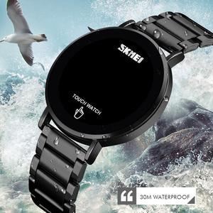 Image 5 - SKMEI relojes digitales deportivos de lujo para hombre, reloj de pulsera de acero inoxidable, pantalla de luz LED, pulsera electrónica