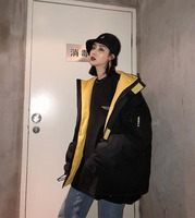 NiceMix 2019 New Korean Loose Winter Women Cotton jacket Fashion Loose Hooded Straight military uniform Outerwear Female parkas