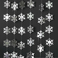 4m de papel Artificial copos de nieve Garland artículos de fiesta de la línea Frozen adornos navideños para el hogar Navidad adornos colgantes de árbol nieve
