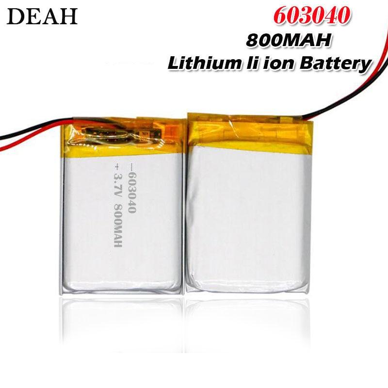Bateria li-polímero de lítio, 3.7v 800mah bateria 603040 para pad dvd e-book bluetooth headset bateria recarregável acumulador