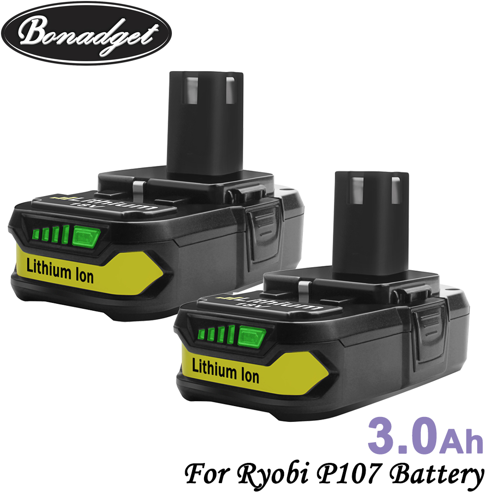 Bonadget 18V 3000mAh P107 Battery Replacement For Ryobi P104 P105 P102 P103 P107 Li-ion Battery Chargeable Power Tools Battery