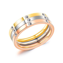 Classic titanium steel three-color ring European and American personality fashion three-in-one ladies jewelry VR718