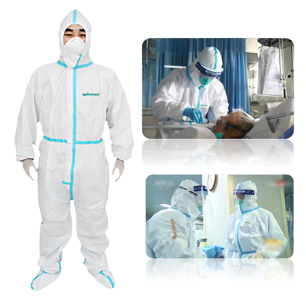 Protective Coverall Hazmat Suits Protective Overalls Against Protective Work Suit Safety Coverall with Hood Shoes Cover XL Size