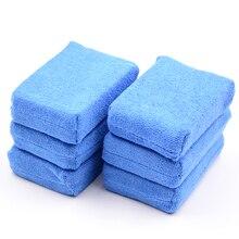 6 ピースカーペイントケアプレミアムグレードマイクロファイバーアプリケータスポンジ布マイクロファイバーワックス研磨ディテール洗浄ブルー