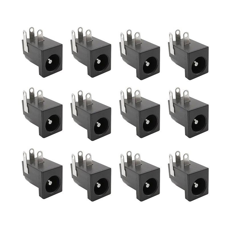 10 шт. 5,5x2,1 мм DC-005 черные заглушки DC Мощность разъем DC коннекторами питания бочка-Тип правый угол PCD крепление терминал
