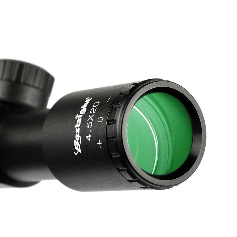 Mira de Rifle de caza compacta de 1 pulgada 4.5X20 con tapas de lente abatibles y Riflescope de retícula con grabado de vidrio P4 para caza chasse