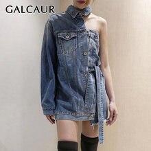 Женское асимметричное джинсовое платье galcaur с отложным воротником