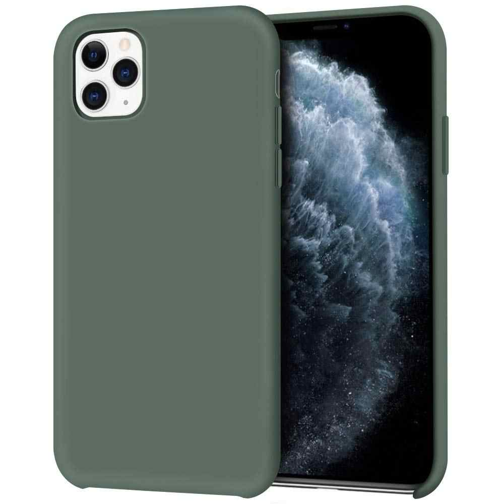 Original Liquid Silicone Case For Apple Iphone 11 Pro Max X Xr Xs 8 Plus 7 6 6s Shockproof Phone Cover Pine Green Accessories Phone Case Covers Aliexpress