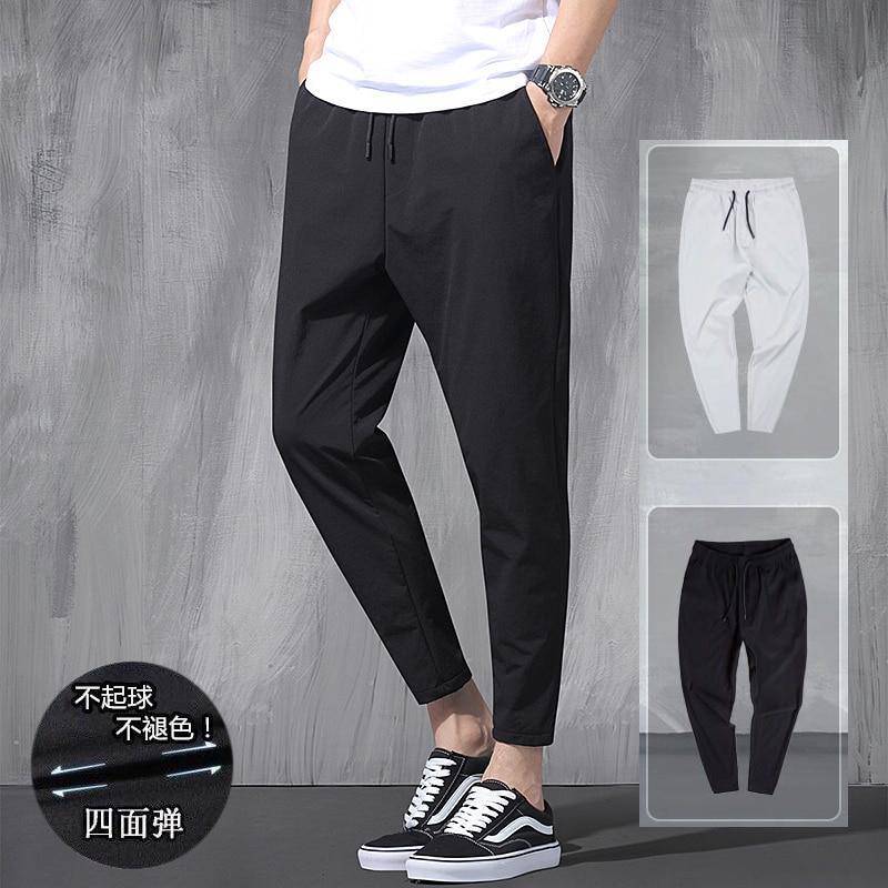 2021 New Nine Leggings Men 's Big Size Trend Fat  Loose Summer Thin Sports Leisure Versatile Haren Ice Elastic Pants