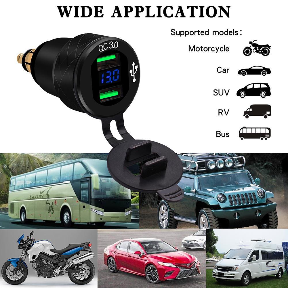 QC3.0 Motorcycle Dual USB Charger 12V-24V Aluminum Moto Cigarette Lighter Socket For BMW F800 F650 F700 R1200GS EU Plug