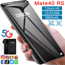 2021 New Mate40 RS 7.2 Inch Smartphone 5800mAh 12+512GB Full Screen Support Face\Fingerprint ID Dual SIM 5G Android Mobilephone