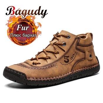 Модные мужские кожаные ботинки, мужские теплые меховые зимние ботинки, Высококачественная спилковая кожа, удобные мужские теплые ботильон...