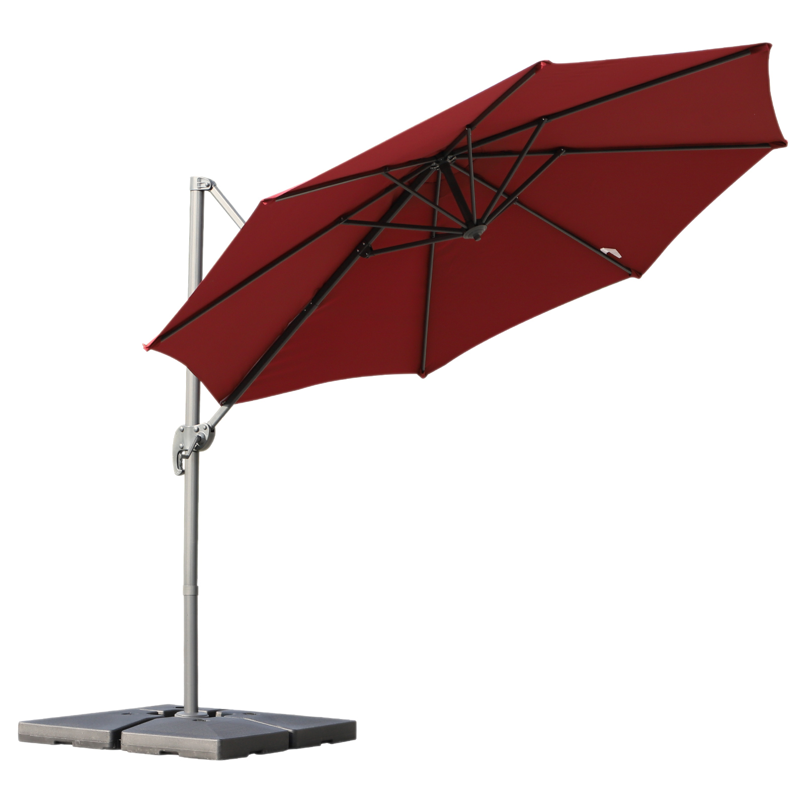 Outsunny Sunshade Decentralised Angle Adjustable 360 Rotating Garden Polyester Φ294x248cm Red
