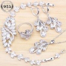 Наборы свадебных ювелирных изделий для женщин, свадебный костюм из стерлингового серебра 925 пробы, ювелирное изделие, кольцо, браслет, серьги, подвеска, ожерелье, набор, подарочная коробка