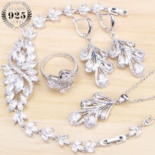 Bridal  Jewelry Sets For Women Wedding Costume 925 Sterling Silver Jewelry Ring Bracelet Earrings Pendant Necklace Set Gifts Box