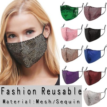 1PC Women Sequins Mask Mascarillas Washable Breathable Women Face Cover Fashion Festival Party Mask Windproof Mouth-muffle Masks