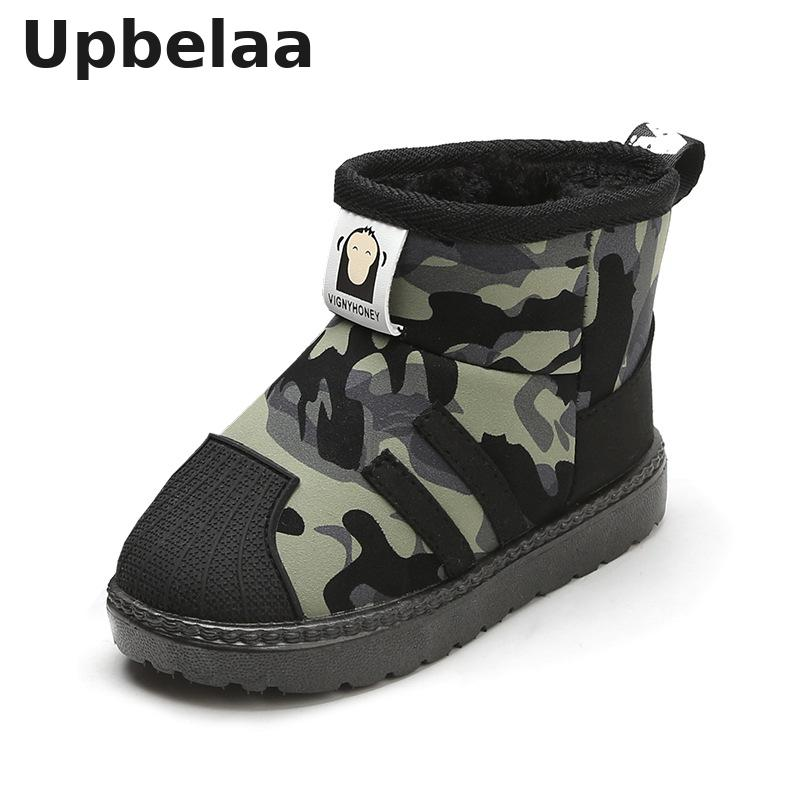 Kids Snow Boots Winter Boys Children Boots Plush Warm Cotton Shoes Baby Boys Girls Camouflage Antiskid Soft Bottom Short Boots