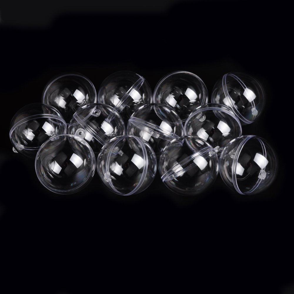 #20 12PC 60mm Clear Plastic Acrylic Fillable Ball Ornament - Pkg Christmas Tree Hanging Ornaments Holiday Dropshipping