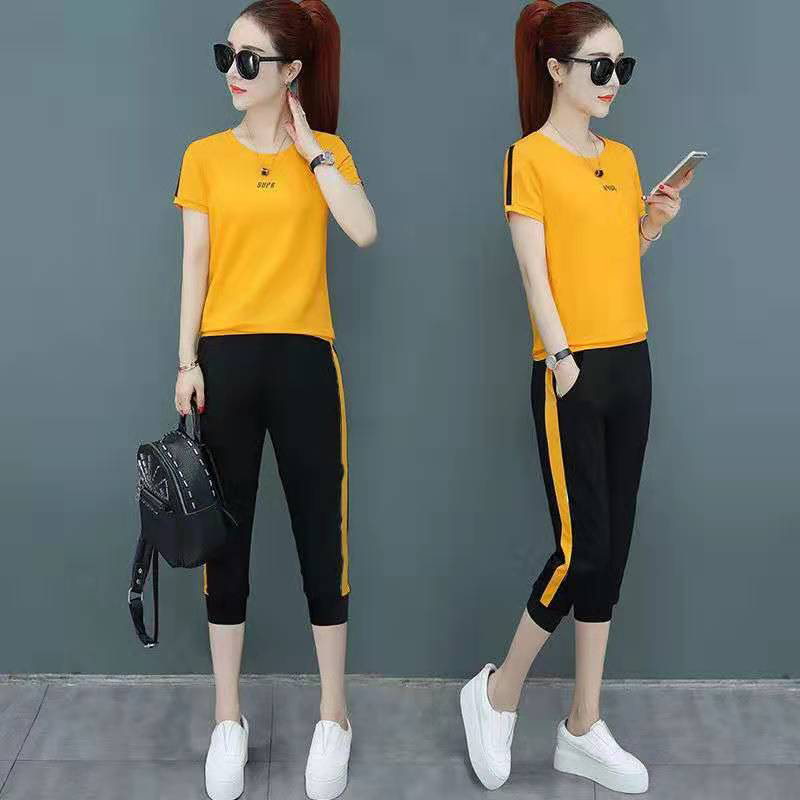 Summer New Short-sleeved 7 Pants Two-piece Suit Slim Print T-shirt Suit Fashion Elegant Women's Clothing