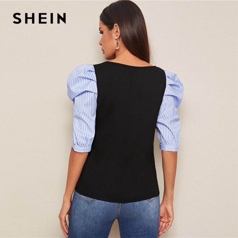 SHEIN Black Striped Puff Sleeve Top Round Neck Blouse Women Summer Colorblock Fashion Half Sleeve Office Ladies Casual Blouses 2