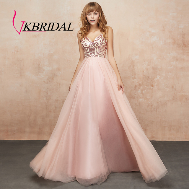 VKbridal Sequin Lace Homecoming Dresses Long Tulle Formal Wear Sparkle A-line Backless Party Gowns V-neck Evening Dress