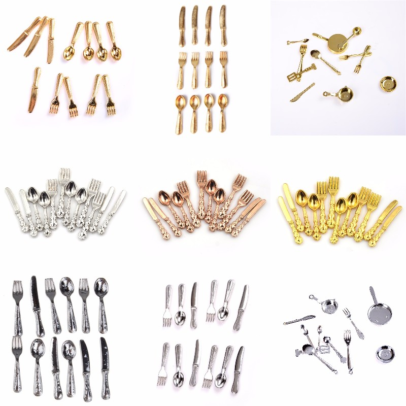 11/12Pcs/set Vintage Dollhouse Miniatures Tableware Mini Cutlery Knife Fork Spoon Childrens Toy For Doll House Decor