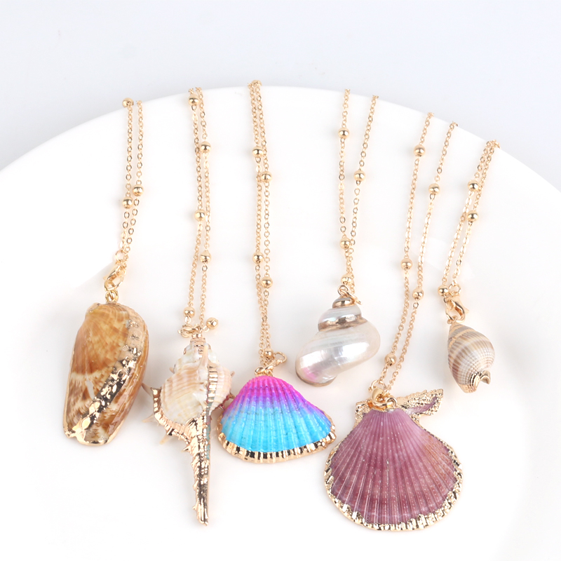 Hot Boho Conch Shell Necklace Sea Beach Shell Pendant Necklace For Women Collier Femme Shell Cowrie Summer Jewelry Bohemian