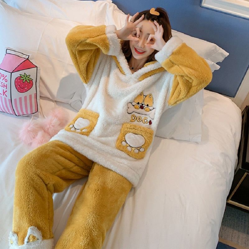 Women Pajama Sets Flannel Cartoon Warm Pyjamas Women Homewear Animal Sleepwear Pijama Mujer Nightwear Girls Home Clothes Suits 44