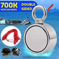 700KG Doppel Seite Starke Leistungsfähige Neodym Magnet Haken Salvage Magnet Fluss Fischerei Ausrüstung Halter Ziehen Montage Topf + Seil