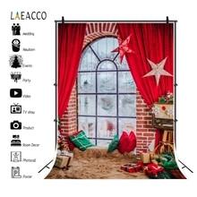 Laeaccoฉากหลังคริสต์มาสสีแดงผ้าม่านหน้าต่างพรมหมอนดาวFamily Portraitการถ่ายภาพพื้นหลังใหม่ปีPhotocall