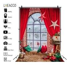 Laeacco natal backdrops cortina vermelha janela tapete travesseiros estrelas família retrato fotografia fundos ano novo photocall