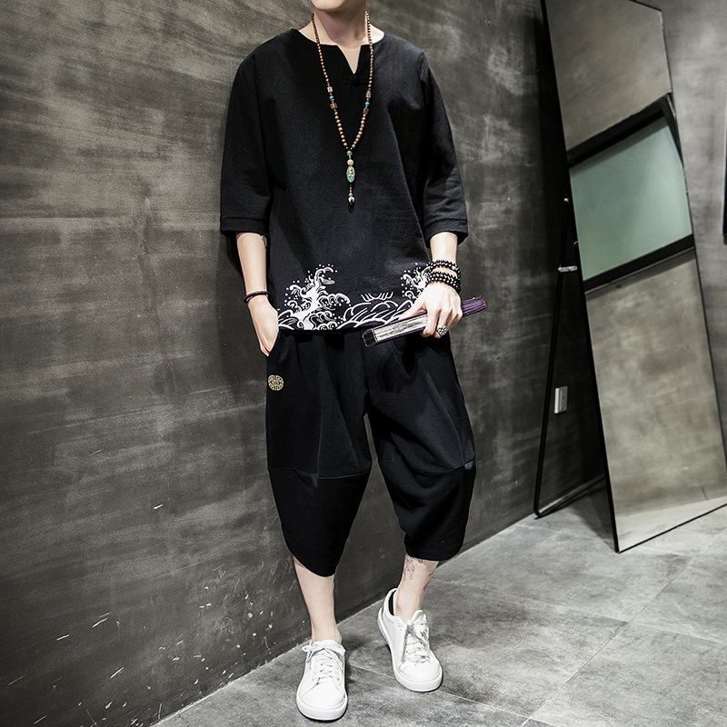 Summer Chinese-style Short Sleeve Set Men's Thin Youth Loose-Fit Printed Cotton Linen Capri Pants Chinese Style Chinese Clothing