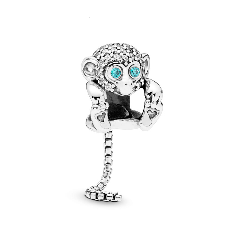 Authentic 925 Sterling Silver Sparkling Monkey Charm Bead Fit Europe Bangle Original Pandora Bracelets Women Jewelry 2019 Summer