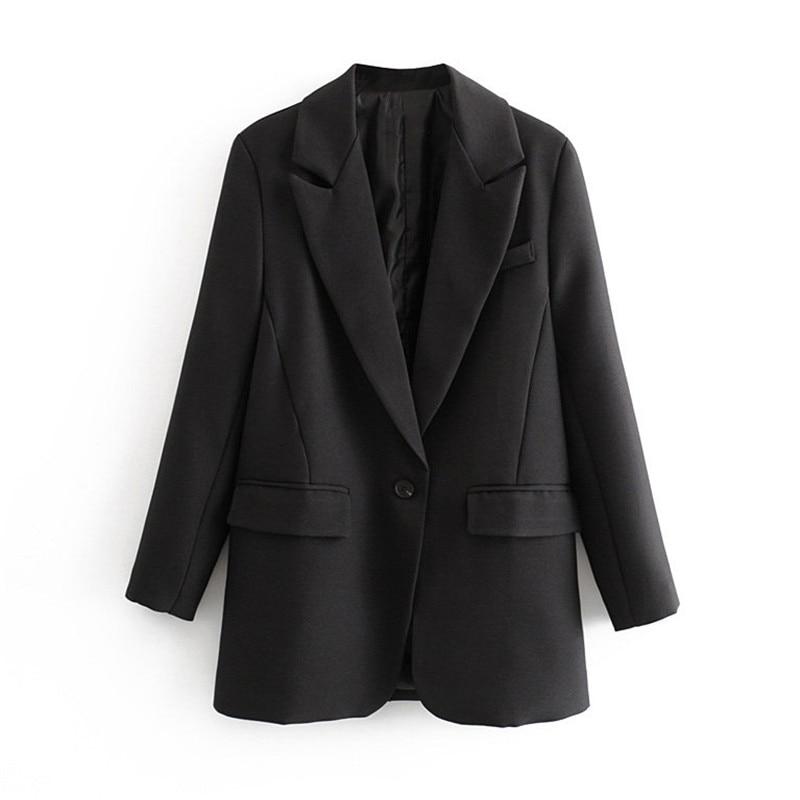 Elegant Solid Basic Women Blazer Notched Collar Single Button Pockets Black Jacket Female Office Wear Coat Tops