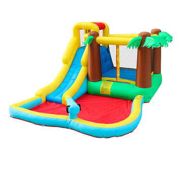 Wild Jungle Inflatable Bounce House Bouncer Jumping Playground Trampoline Bouncy Castle Water Slide with Pool for Kids цена 2017
