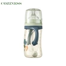 COZINESS Baby Feeding Bottle Wide Caliber With Handle Bottle Newborn Babies Straw Cute Water Bottle PPSU Safe Comfort Accessory